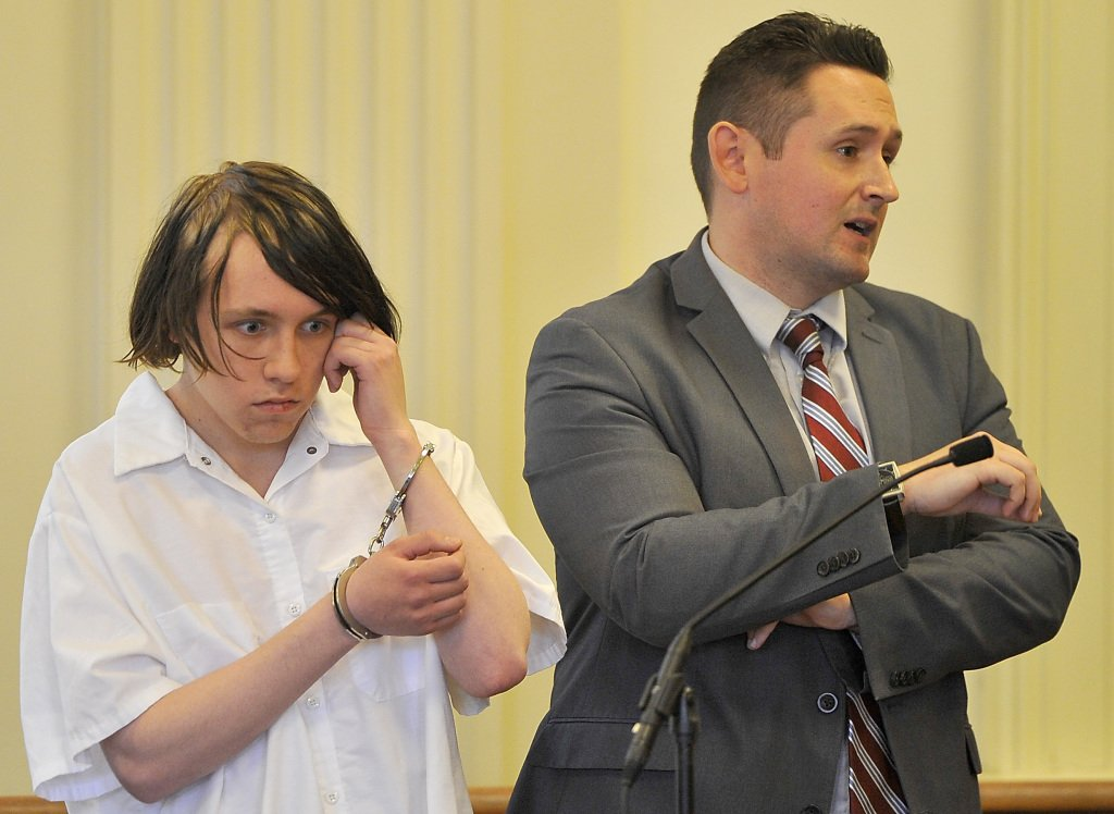 Accused arsonist Dylan Collins appears in York County Superior Court with his attorney , Will Ashe, who entered no plea on Collins' behalf Friday.