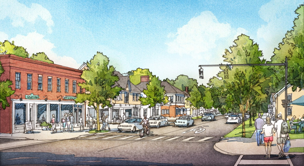 An artist's conceptual rendering of what the intersection between Main Street and Route 1 in Yarmouth could look like without the overpass, and with added street features.