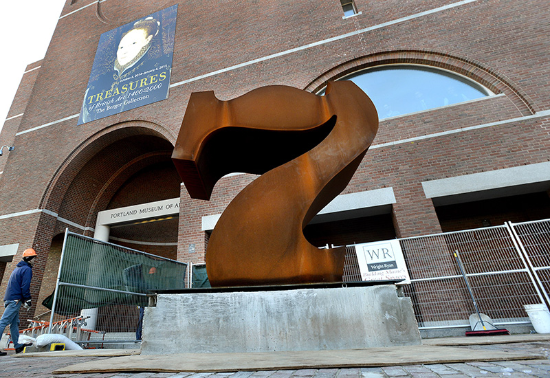 New 39 seven 39 sculpture calls attention to portland museum for Portland art museum maine