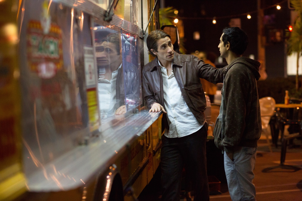 "Jake Gyllenhaal, left, and Riz Ahmed in ""Nightcrawler."""