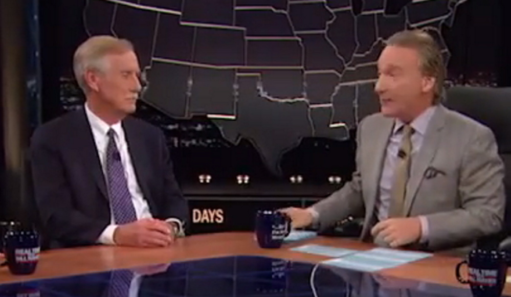 U.S. Sen. Angus King of Maine appears Friday night on Bill Maher's HBO show.