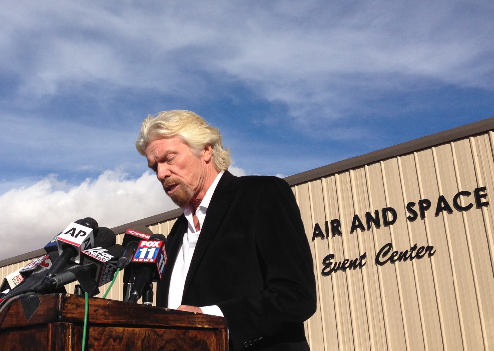 Virgin Galactic founder Richard Branson, speaking at a news conference in Mojave, Calif., on Saturday, discussed the death of a crew member after SpaceShipTwo crashed on Oct. 31.