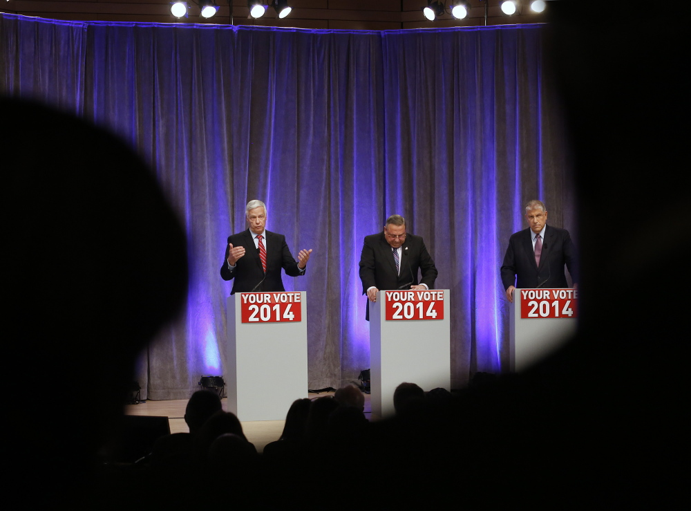 An Oct. 20 gubernatorial debate at the University of Southern Maine's Hannaford Hall featured candidates U.S. Rep. Mike Michaud, left, Gov. Paul LePage and Eliot Cutler, right.