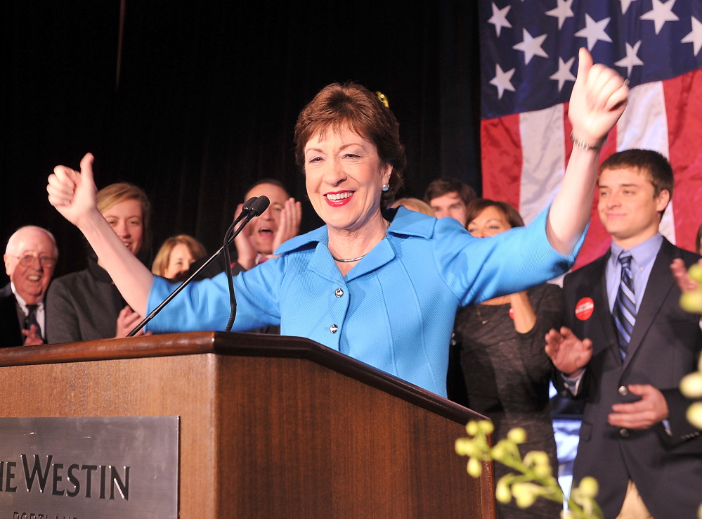 Susan Collins gives her victory speech Tuesday night at the Westin Portland. The incumbent's campaign emphasized her reputation as a moderate Republican.