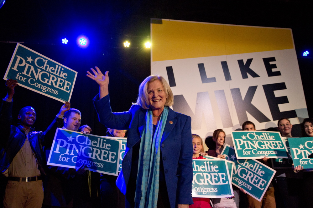PORTLAND, ME - NOVEMBER 4: U.S. Rep. Chellie Pingree, (D-North Haven) waves after giving her victory speech at Port City Music Hall after she was re-elected to the House of Representatives Tuesday, November 4, 2014. (Photo by Gabe Souza/Staff Photographer)