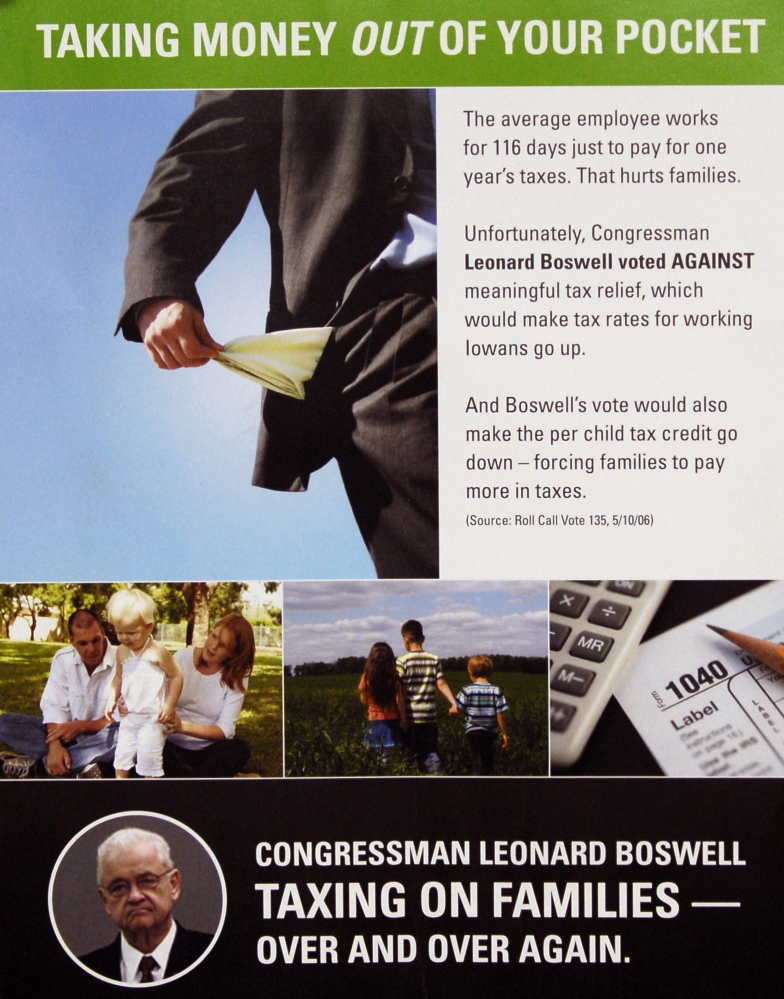 A political flier released and paid for by the Economic Freedom Fund, a conservative non-profit group, features a negative ad about Rep. Leonard Boswell, D-Iowa.