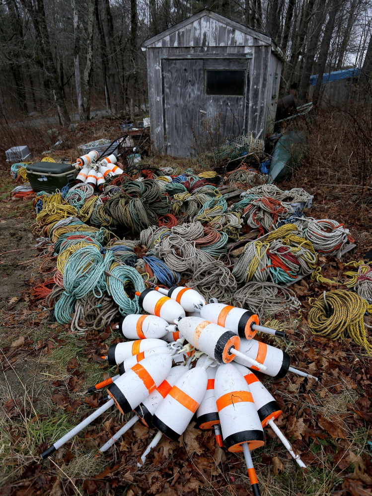 Fishing gear sits idled in the backyard of shrimp fisherman Tim Simmons' Nobleboro home in December 2013. Shrimpers fear the market will have trouble rebounding in the future.