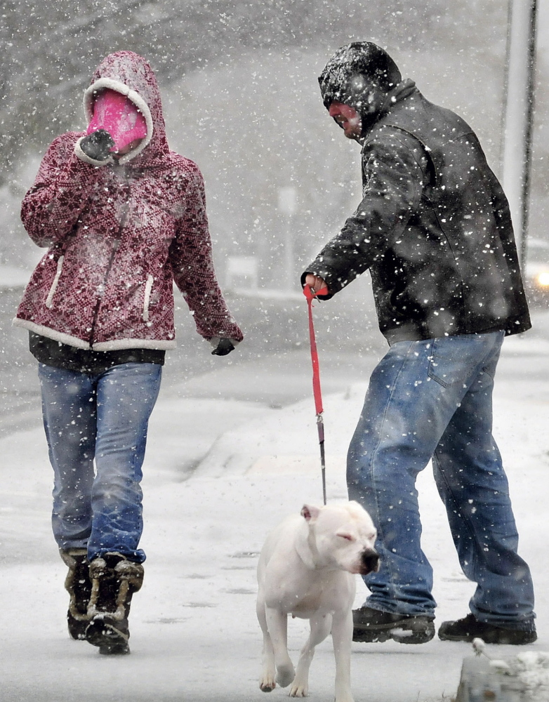 A wind-driven snow hits Lindsey Doyle and Bruce Liberty as they walk their dog Bella in Waterville during the first snowstorm of the season on Sunday.
