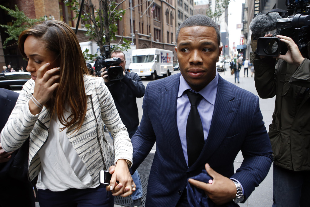 Ray Rice arrives with his wife, Janay Palmer, for an appeal hearing of his indefinite suspension from the NFL on Wednesday in New York.