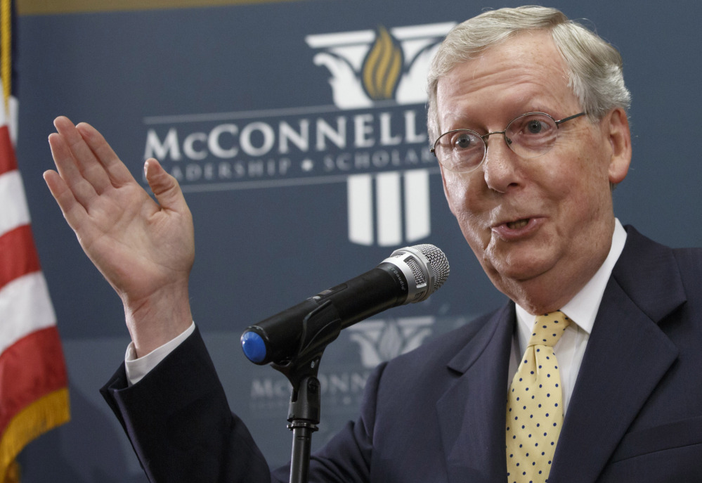 Republican Mitch McConnell of Kentucky, right, a supporter of the proposed Keystone XL pipeline, is poised to become the next Senate majority leader.