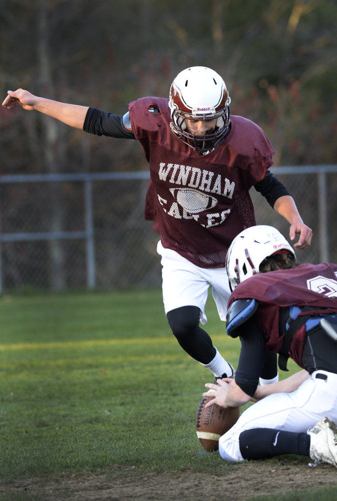 Josh Dugas of Windham decided in the eighth grade that he would try place-kicking, and as a senior is 7 of 7 on field-goal attempts.
