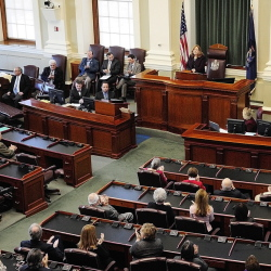 Leigh Ingalls Saufley, chief justice of the Maine Supreme Judicial Court, gives her annual State of the Judiciary address to a joint convention of the Maine Legislature on Feb. 25 at the State House in Augusta.