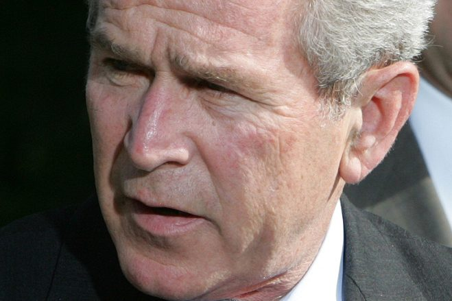 """President George W. Bush, left, is giving even odds to an attempt at a family legacy as part of the 2016 White House campaign, saying Sunday on """"Face the Nation"""" on CBS that his brother, Jeb Bush, is """"wrestling with the decision."""""""