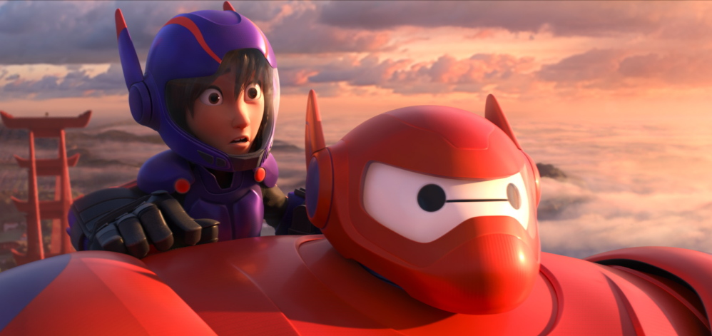 "Animated characters Hiro Hamada, voiced by Ryan Potter, and Baymax, voiced by Scott Adsit, appear in ""Big Hero 6."""