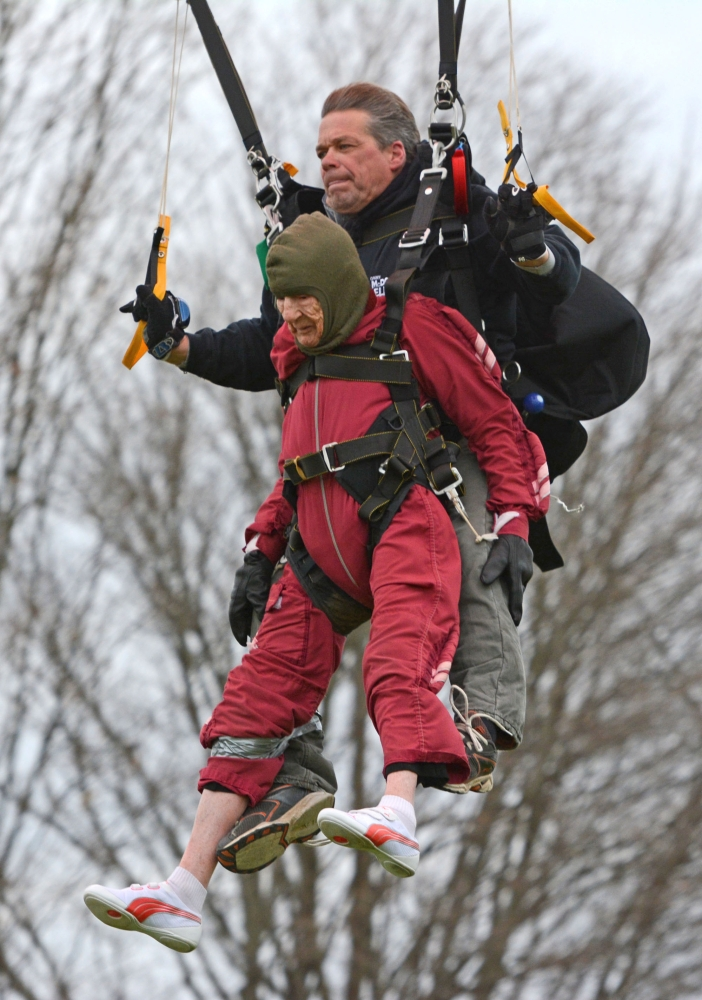 Eleanor Cunningham and tandem master Dean McDonald make a safe landing at Saratoga Skydiving Adventures on Saturday. McDonald said Cunningham is his oldest jump partner yet.