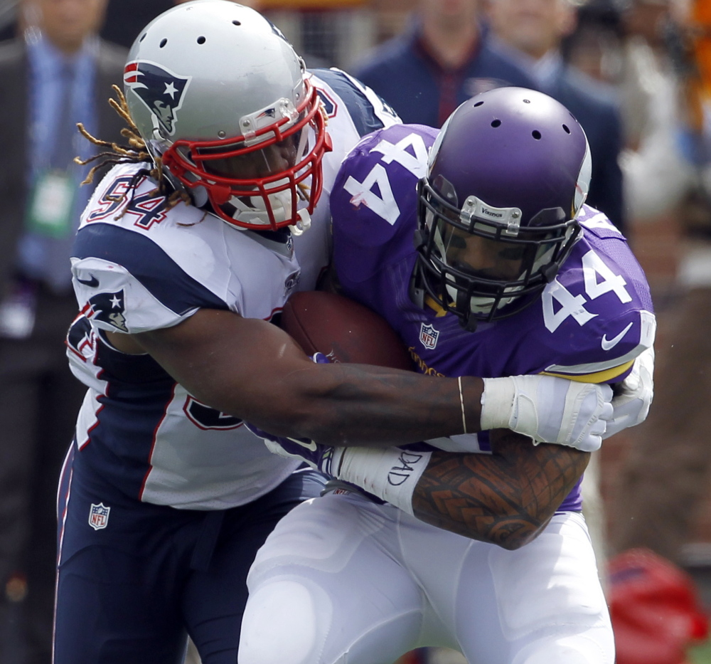 Linebacker Dont'a Hightower, the Patriots' leading tackler last year, has helped the team survive the loss of Jerod Mayo.