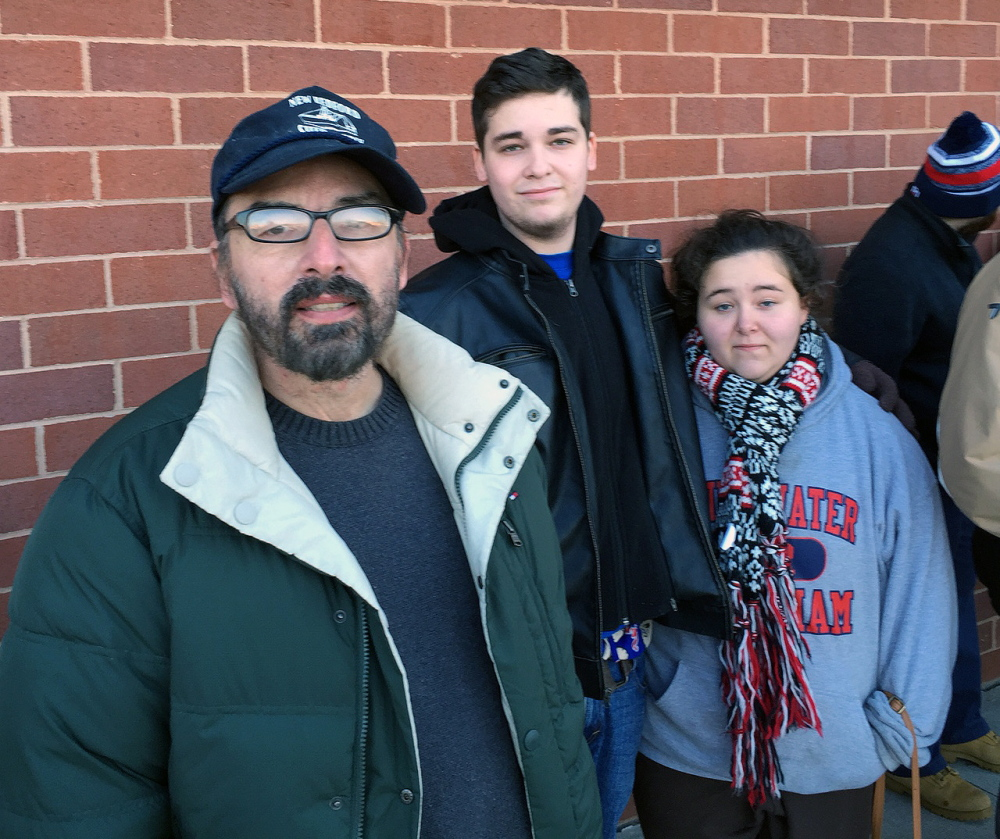 Lark Frias, 49, Matt Frias, 18, and Paige Mello, 17, arrived at Books-A-Million at 8 p.m. Monday from New Bedford, Mass. They were about 30th in line when the store doors opened Tuesday at 9 a.m.