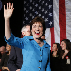 Republican Sen. Susan Collins celebrates her re-election in this November 2014 photo. A survey of 654 registered Maine voters finds Collins has a 78 percent favorability rating.  The Associated Press
