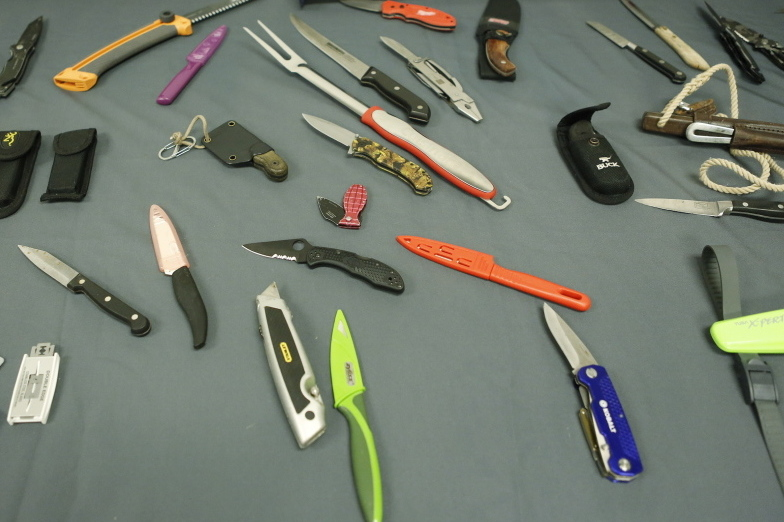 The 500 pounds of prohibited items seized at the jetport this year include carving knives, brass knuckles, a large barbecue fork and box cutters.