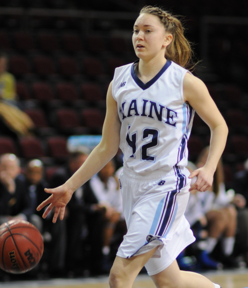 Sigi Koizar grew up in a small town south of Vienna, was attracted to basketball, became an exchange student at Stearns High and now runs the point for UMaine.