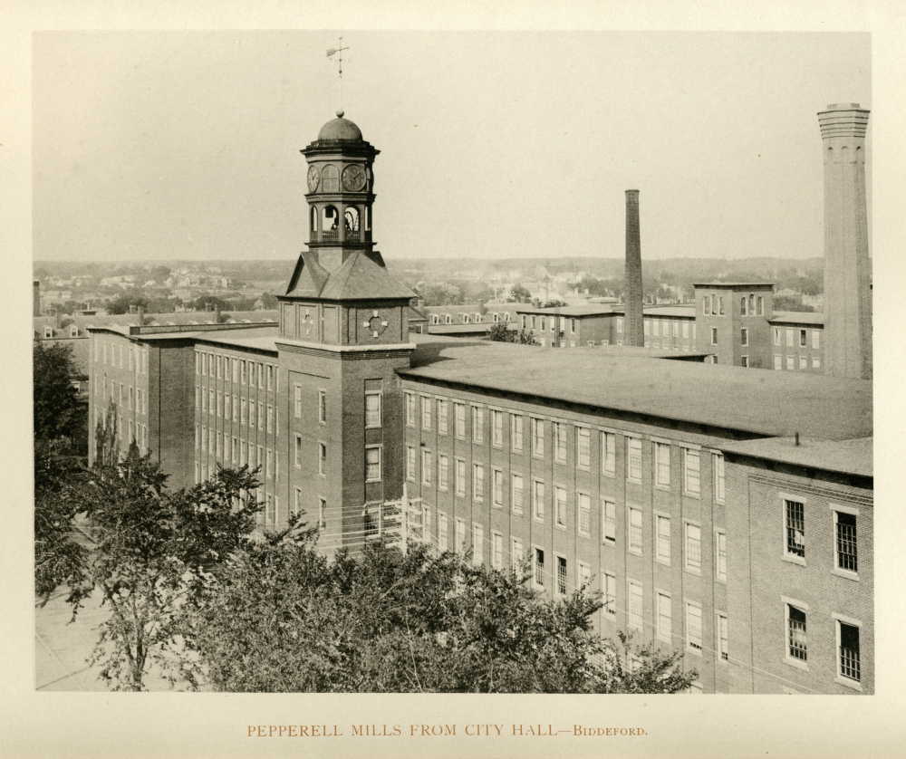 Lincoln Mill in 1894, as seen from Biddeford's City Hall. The building's iconic clock tower was removed in 2007 and, after years of sitting next to the mill, was recently saved from demolition by a group that raised more than $25,000 to move it to a new location nearby.