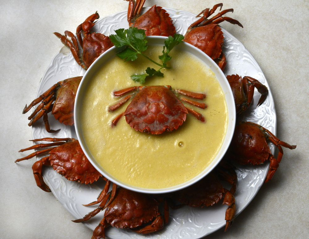 Carol Steingart's green crab and corn chowder.