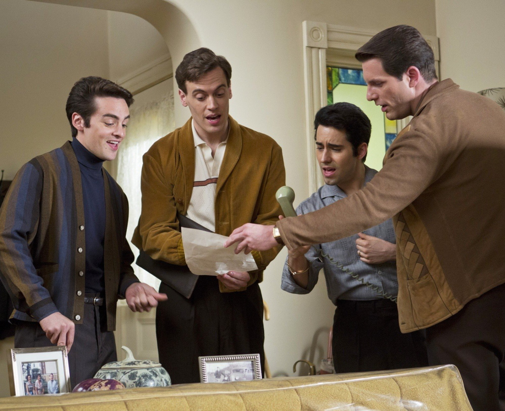 "From left, Vincent Piazza, Erich Bergen, John Lloyd Young and Michael Lomenda in ""Jersey Boys."""