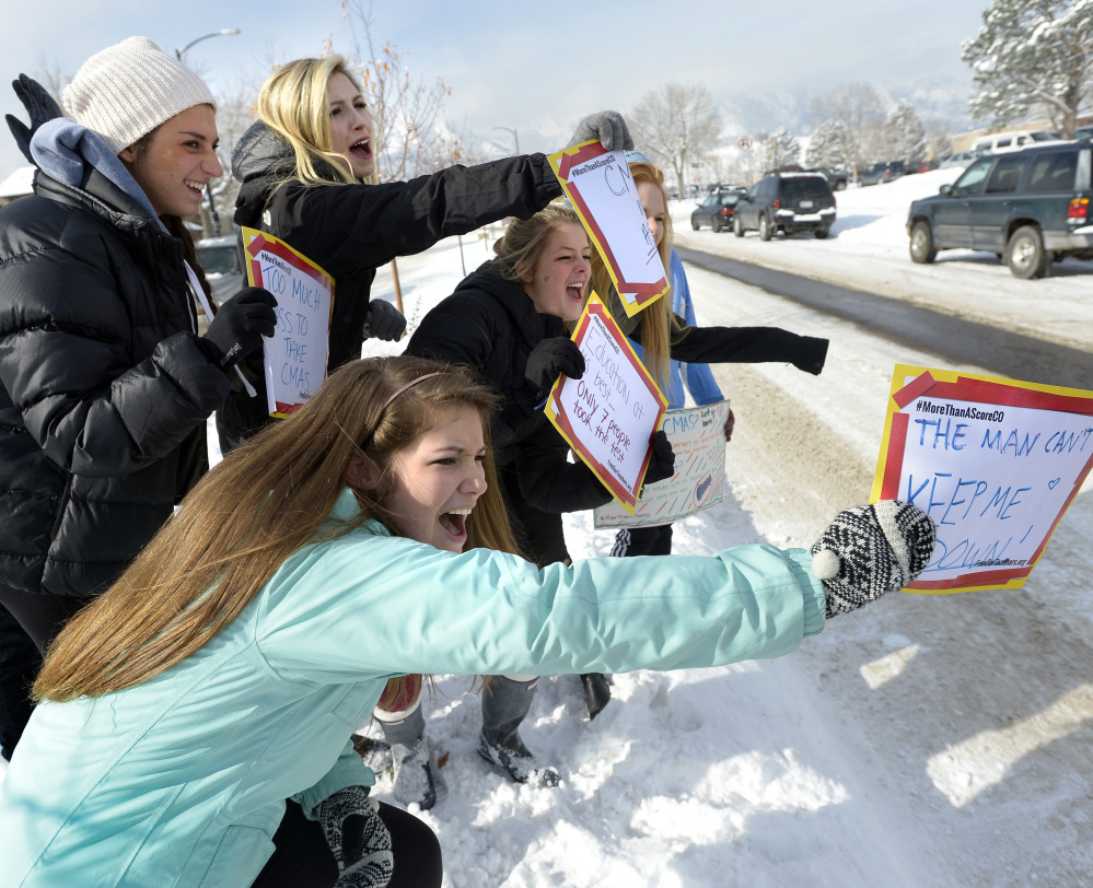 Students at Fairview High School in Boulder, Colo., protest new standardized state tests.