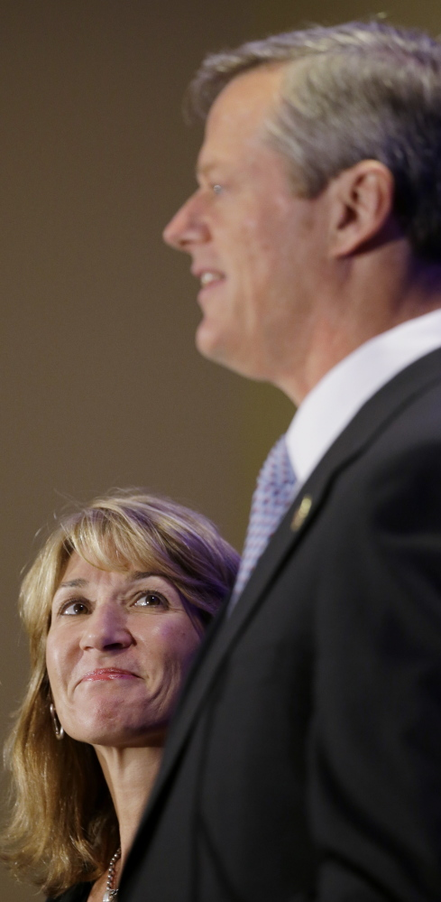Massachusetts Gov.-elect Charlie Baker appears with Lt. Gov.-elect Karyn Polito in Boston after the election Nov. 4. He became the state's first Republican governor since Mitt Romney left office in 2007.