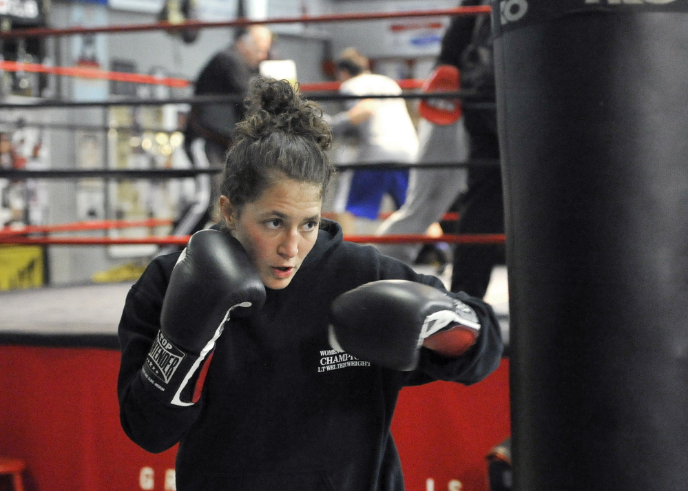 Lindsay Kyajohnian, 25, an amateur junior welterweight with an 11-4 record, will help warm up the big fight crowd Saturday night at the Portland Expo.