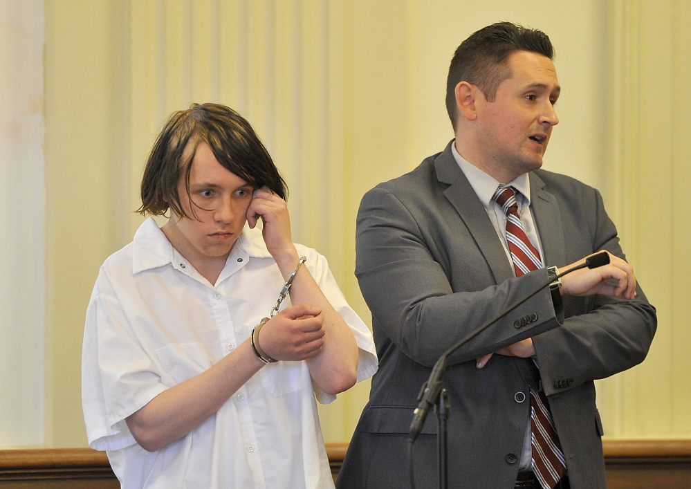 Dylan Collins, accused of setting a fire in a Biddeford apartment building on Sept. 18 that killed two young men, faces two counts of murder and one count of arson.