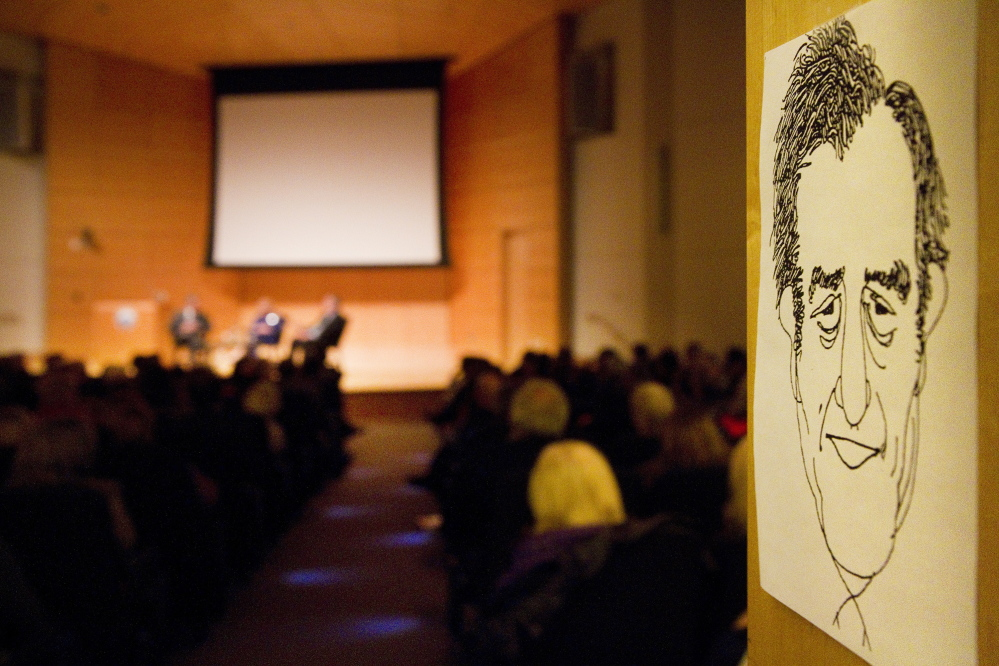 A caricature portrait of Edmund Muskie is posted at the entrance of the Abromson Center at USM in Portland on Saturday for a tribute to Muskie's legacy.