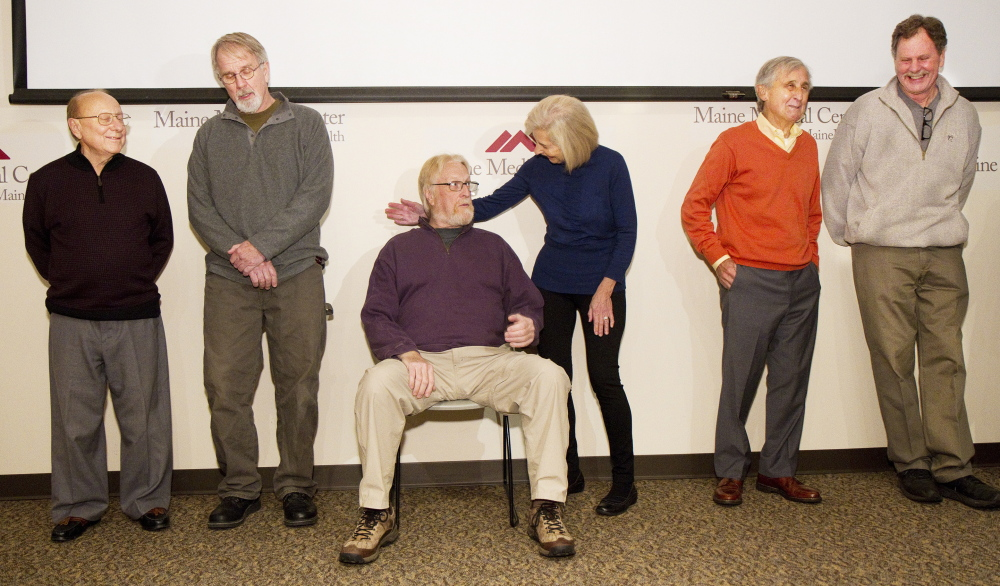 Maine Medical Center Paired Donation Program participants meet one another for the first time at the Portland hospital on Monday. They are, from left, recipient Richard Cook of Hermon, his donor Kenny Shepard of Pittston, recipient Jan Bohlin of Harpswell, his donor Mary Ann McLaughlin of Scarborough, recipient James McLaughlin of Scarborough, and his donor Stan Galvin of Pemaquid.