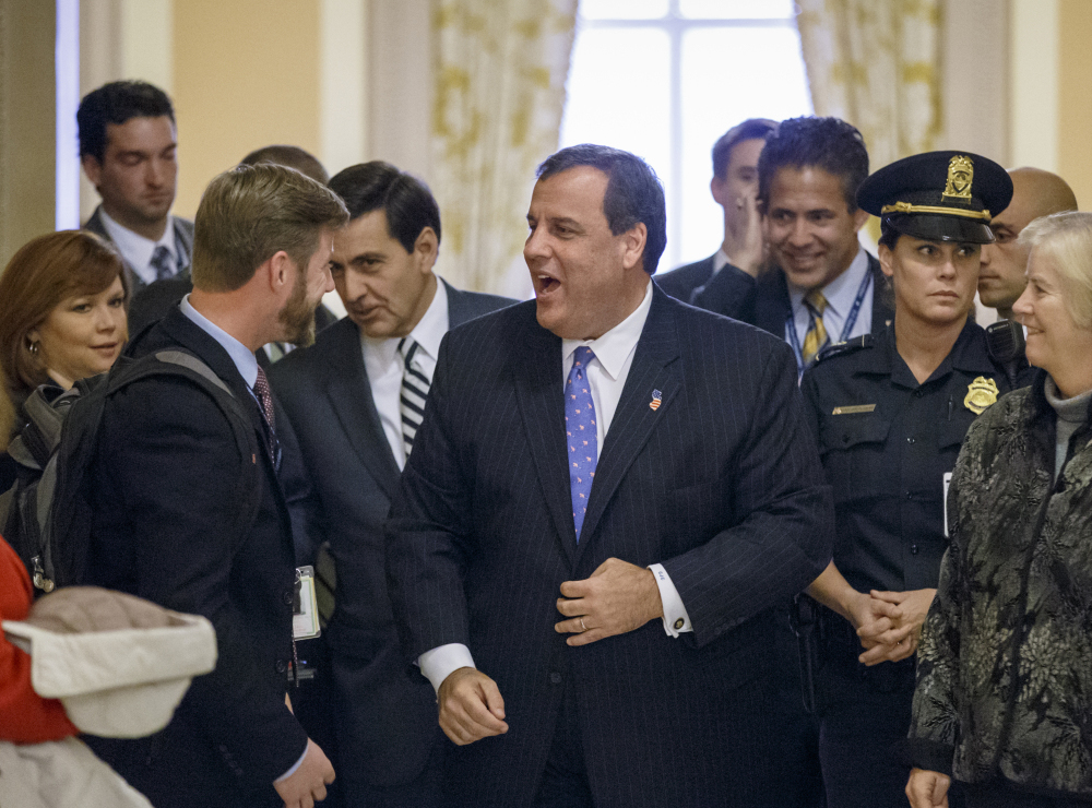 New Jersey Gov. Chris Christie leaves the Capitol on Monday after meeting with newly elected Republican members of the House at an orientation lunch.