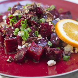 Roasted beets with orange vinaigrette, pecans and goat cheese.