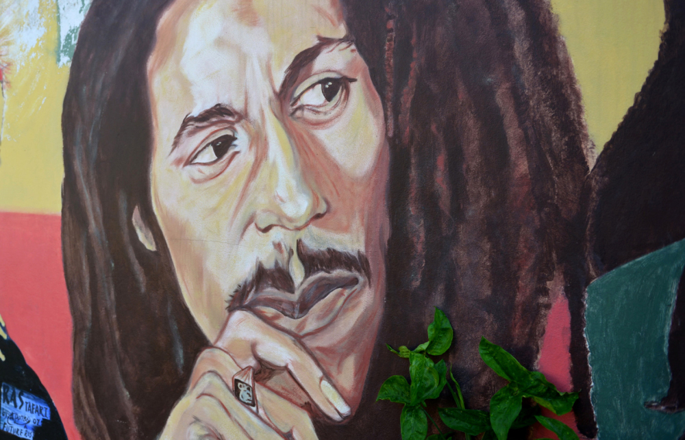 Jamaica's own Bob Marley, depicted in a mural at the late reggae star's home in Kingston.