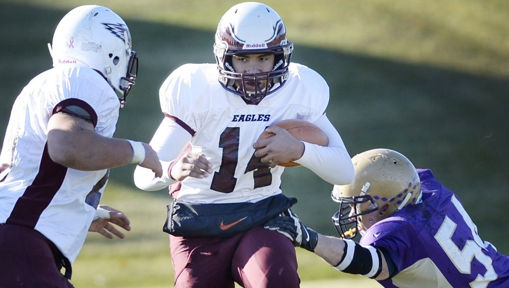 Windham quarterback Desmond Leslie is in his first year as a starter for the Eagles, who will play Thornton Academy for the Class A state title.
