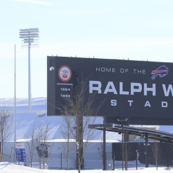 Snow covers the area around Ralph Wilson Stadium, home of the Buffalo Bills, on Wednesday. A lake-effect storm that buried the Buffalo area under 6 feet of snow has prompted the NFL to consider a different place or date for the Bills' home game scheduled Sunday against the New York Jets.