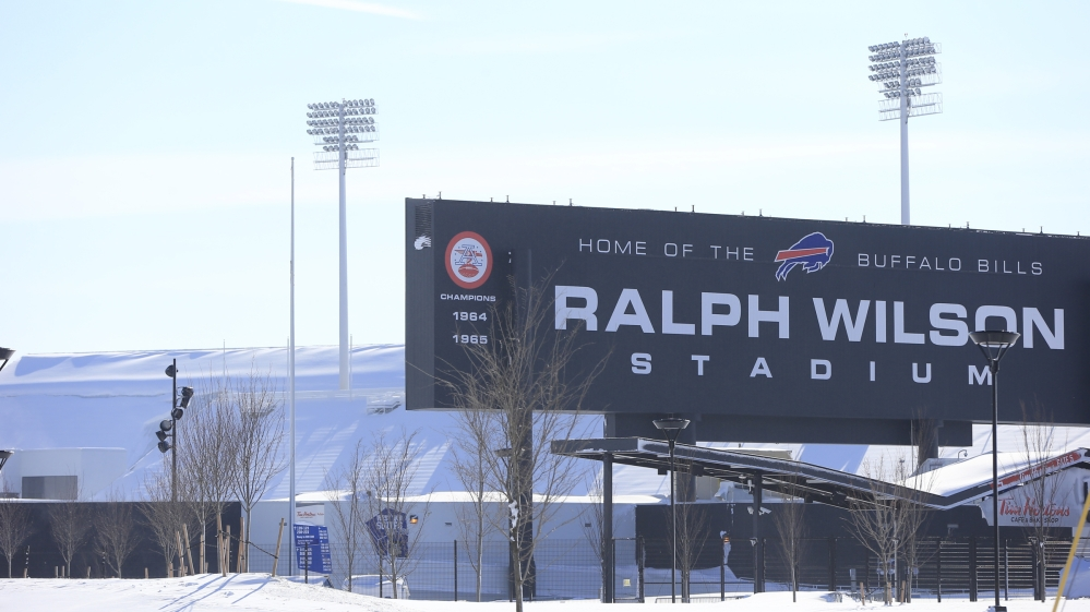 Snow covers the area around Ralph Wilson Stadium, home of the Buffalo Bills, on Wednesday. A lake-effect storm that buried the Buffalo area under 6 feet of snow has prompted the NFL to move the Bills' home game against the New York Jets to Detroit on Monday.