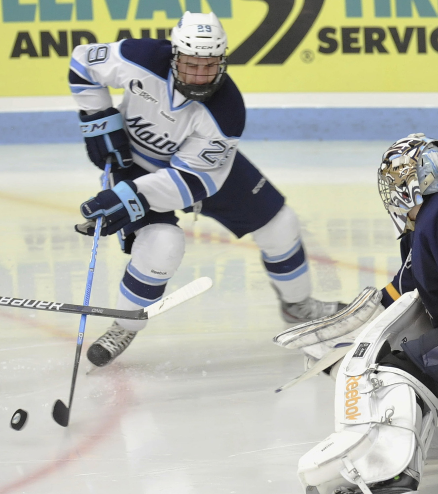 Maine winger Connor Leen ranks second for UMaine with 32 shots on goal and isn't afraid to go into the corners with much bigger players.