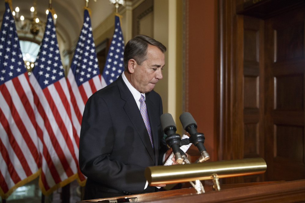 "House Speaker John Boehner finishes his response Friday to President Obama's executive actions to spare millions of illegal immigrants from being deported. Boehner said at the news conference, ""We're working with our members, looking at the options that are available to us, but I will say to you: The House will, in fact, act."""