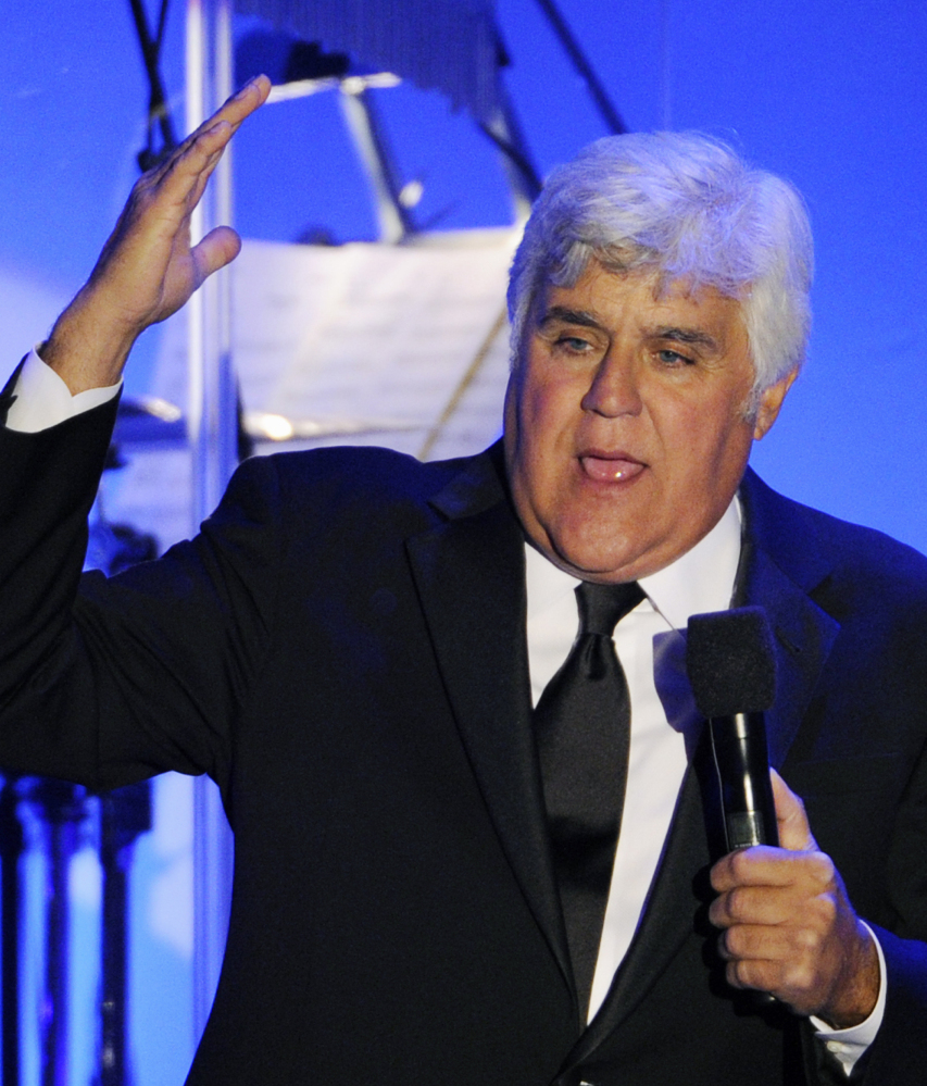 Comedian Jay Leno is canceling a scheduled appearance at a firearms trade show in Las Vegas.