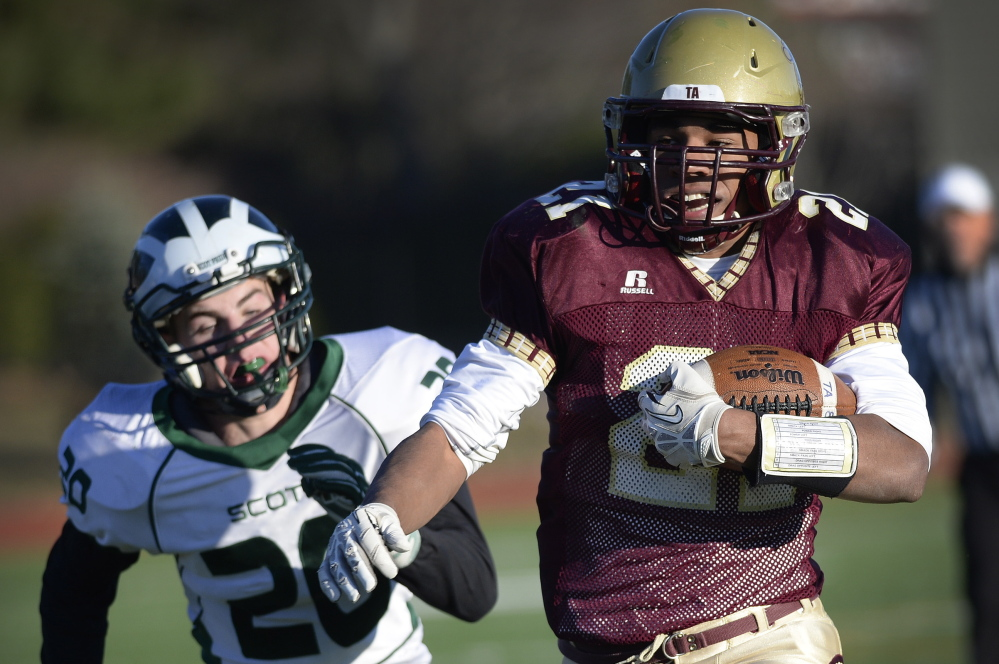 It's a sight that's been seen a lot this season: A Thornton Academy runner – in this case, Greg Ruff – heading to the end zone with a defender in pursuit. The Trojans have averaged more than 47 points per game and, yes, that poses a huge challenge for Windham.