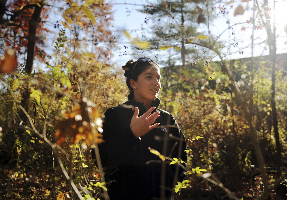 Lindsay Tomaszewski, intern with the Greenwich Inland Wetlands & Watercourses Agency, walks through a wooded plot of land beside the North Street School in Greenwich, Conn. Tomaszewski has been labeling and studying invasive species in the town-owned plot of land. The Associated Press//Greenwich Time/ Tyler Sizemore
