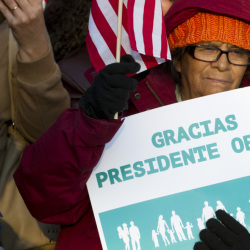 Supporters of immigration reform attend a rally in front of the White House in Washington on Friday, thanking President Obama for his executive action on illegal immigration.