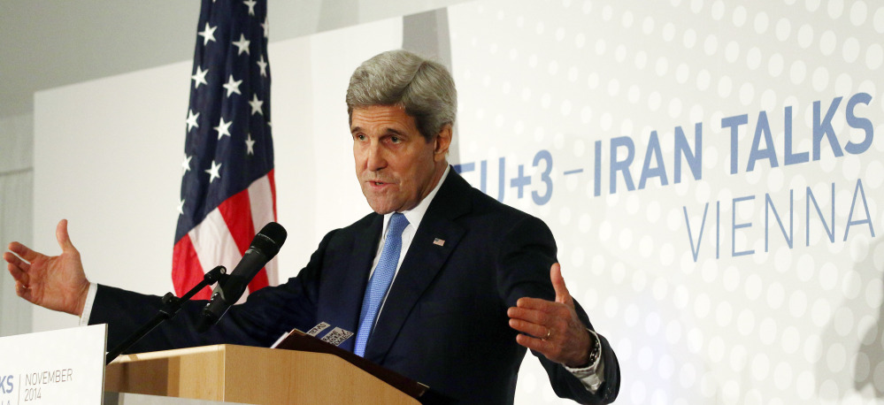Secretary of State John Kerry addresses the media Monday after nuclear talks with Iran in Vienna, Austria. Negotiators gave up on last-minute efforts to get a nuclear deal by the Monday deadline and extended their talks for another seven months.