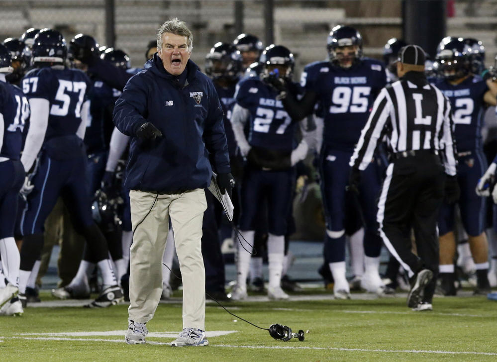 """Maine head coach Jack Cosgrove said his team's 5-6 record """"isn't pleasing, but growth is."""" The Black Bears' young offense struggled this season but thanks to a solid defense, Maine won three of its final four games."""