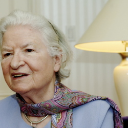 """P.D. James discusses her novel """"The Lighthouse"""" in 2005. The author, who brought realistic modern characters to the classical British detective story, died Thursday."""