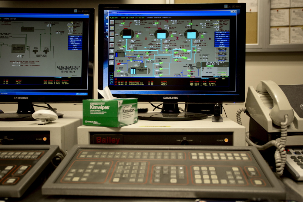 A computer screen inside the control room at Emera Energy in Rumford shows the steam drum levels this month. From here, plant operators can monitor levels and adjust them if they need attention. The Maine plant is well-maintained and ready to run 96 percent of the year.