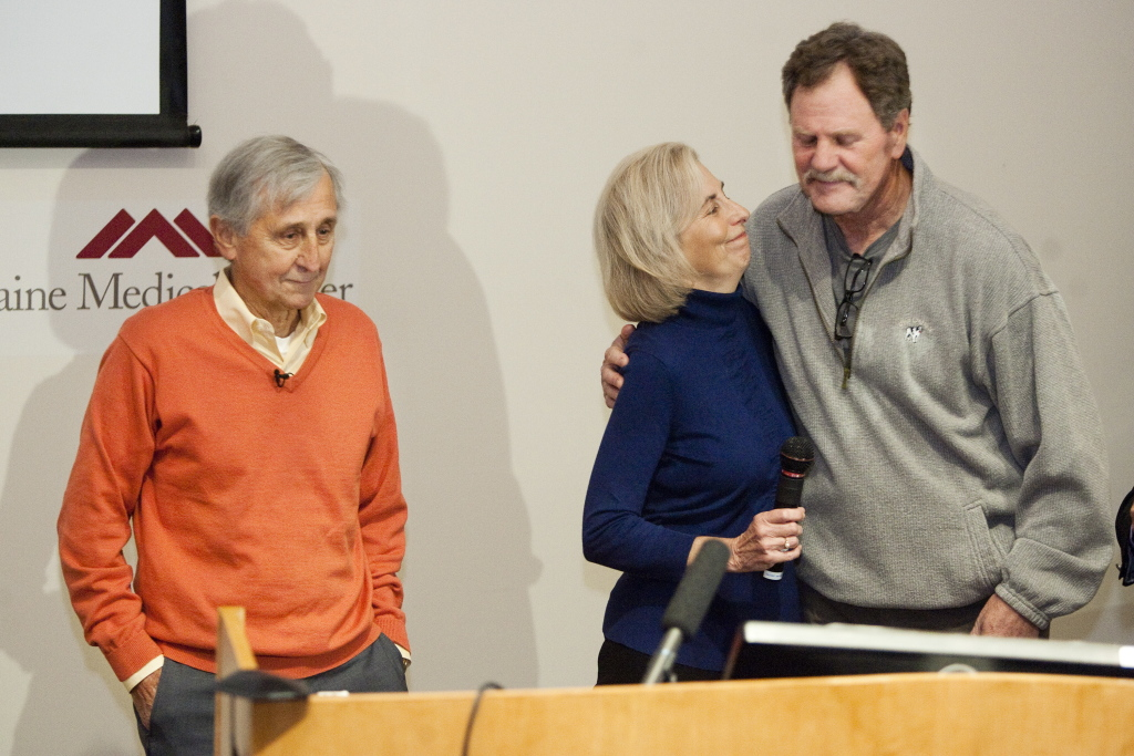 Mary Ann McLaughlin of Scarborough thanks Stan Galvin of Pemaquid for his altruistic donation of a kidney to her husband, James McLaughlin, at left. Mary Ann McLaughlin donated a kidney to another man as part of the Paired Donation Program at Maine Medical Center in Portland.